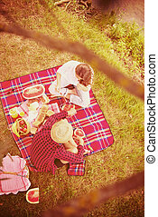 top view of couple enjoying picnic time