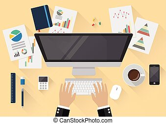 Top view of creative office workspace. flat style design