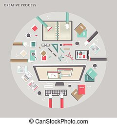 top view of creative process in flat design