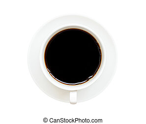top view of cup of black coffee isolated on white background