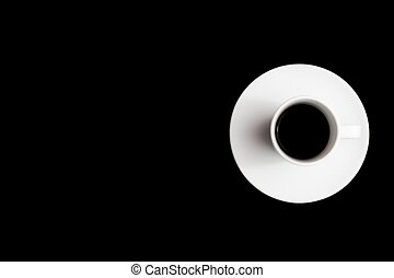 top view of cup of black coffee with space for text