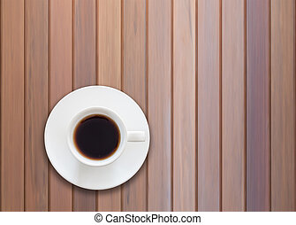 Top view of cup on wooden background