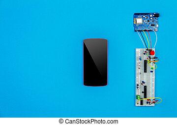 Top view of desktop of  hardware engineer