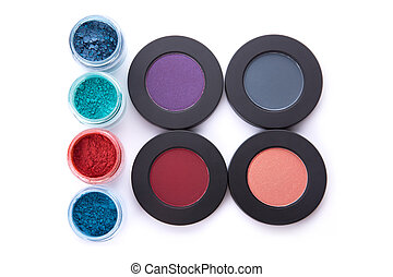 Top view of different type eye shadows set