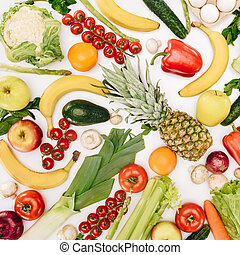 top view of different vegetables and fruits isolated on white