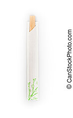 top view of disposable chopsticks isolated on a white...
