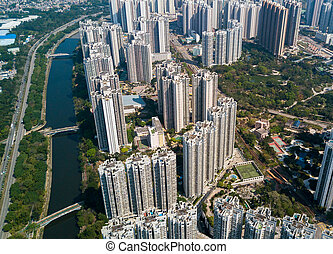Top view of downtown in Hong Kong city
