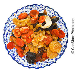 top view of dried fruits on arabic plate