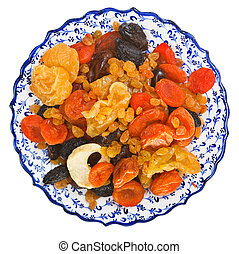 top view of dried fruits on turkish plate