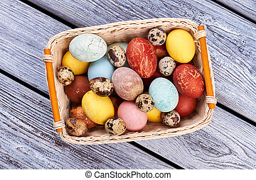 Top view of Easter basket.