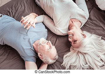 Top view of elderly couple in love
