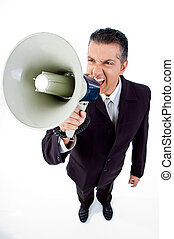 top view of employee shouting in loudspeaker on an isolated...