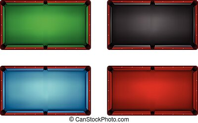 Top view of empty billiards table, four different colors, vector illustration