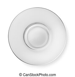 Top view of empty glass saucer