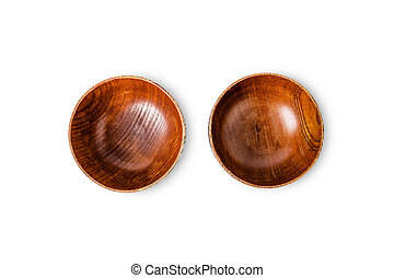 Top view of Empty wooden Bowl isolated on white background
