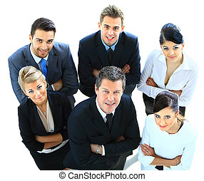 Top view of executives looking up and smiling