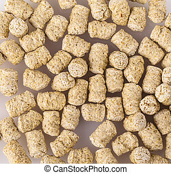 Top view of extruded wheat bran pellets