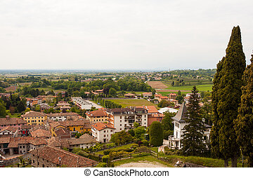 Top view of Fagagna, town in Friuli Venezia Giulia, italy