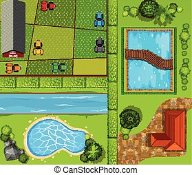 Top view of farmland and private house illustration