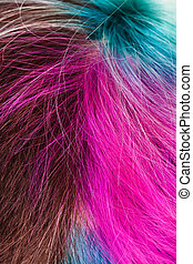 top view of female multicolored dyed hairs close up