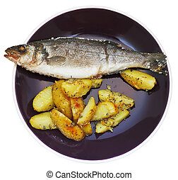top view of fish and fried potatoes on plate