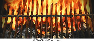 Top View Of Flaming Charcoal Barbecue Grill