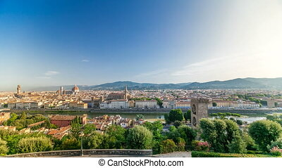 Top view of Florence city timelapse at sunrise with arno...