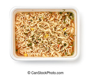 Top view of foam container full of instant noodles