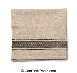Top view of folded linen napkin isolated on white