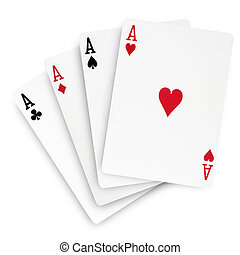 Top view of four aces semi-overlapped on white