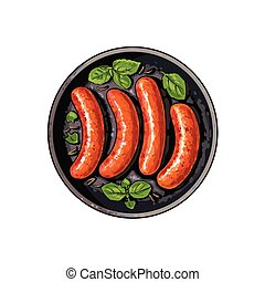 Top view of four grilled sausages on frying pan - Top view...
