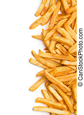 french fries - top view of french fries on white background