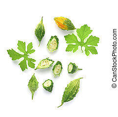 Top view of Fresh bitter gourd isolated on white background