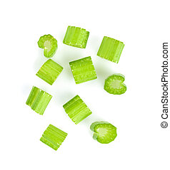 Top view of fresh celery isolated on white background