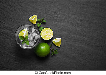 top view of fresh Mojito closeup on a grey stone background