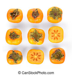 Top view of fresh ripe persimmons isolated on white background