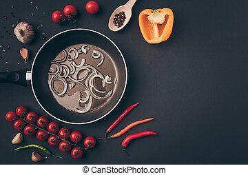 top view of frying pan with onion