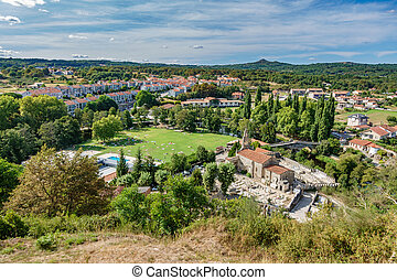 Top view of Galician village Allariz with garden and river
