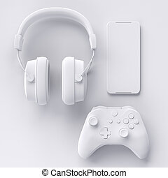 Top view of gamer workspace and gear like joystick, headset, mobile phone