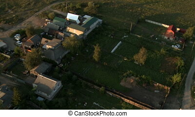 Top view of gardens. Summer rural landscape
