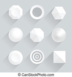 Top view of geometric figures with shadows