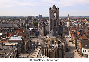 top view of Ghent in Belgium - The Saint Nicholas church in...