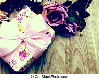 top view of gift box present with space background