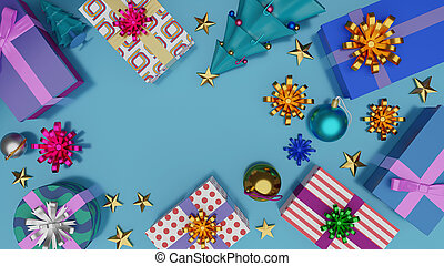 Top view of gift boxes and Christmas tree with shiny ball on blue background with empty space.