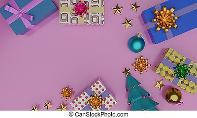 Top view of gift boxes and Christmas tree with shiny ball on pink background with empty space.