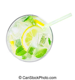 top view of glass of cold lemonade isolated on white