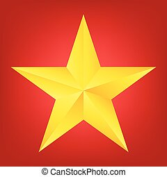 top view of Golden Christmas Star on red background. Vector illustration design.
