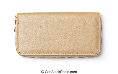 Top view of golden clutch bag isolated white