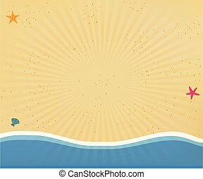 Seaside background or border frame with radiant sun rays