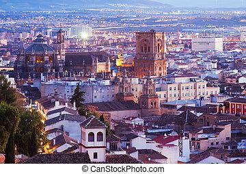 Top view of Granada in evening